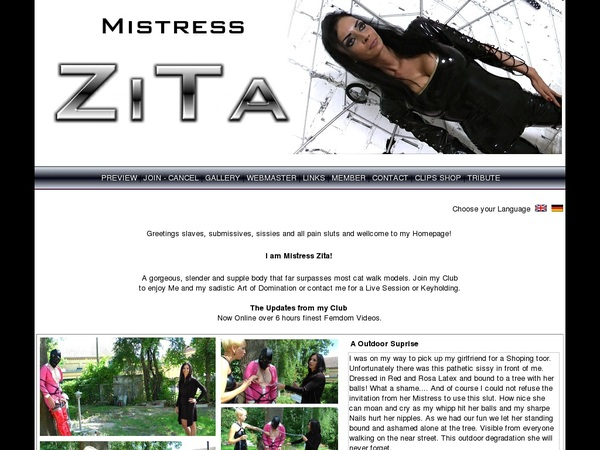 Mistress Zita Free Account Login